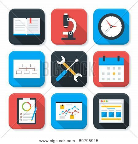 Flat Business And Office Life App Icons Set