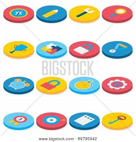 Flat Isometric Circle Business And Office Icons Set