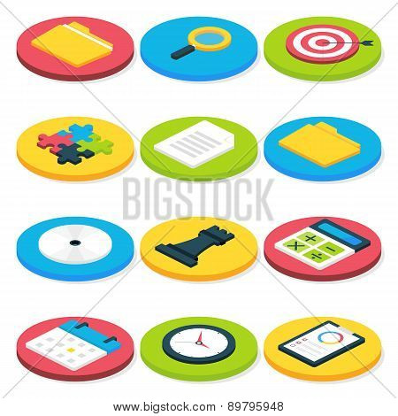 Flat Isometric Circle Business Icons Set