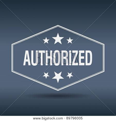 Authorized Hexagonal White Vintage Retro Style Label