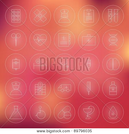 Health Care Circle Medical Line Icons Set