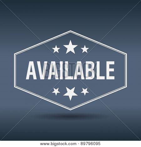 Available Hexagonal White Vintage Retro Style Label