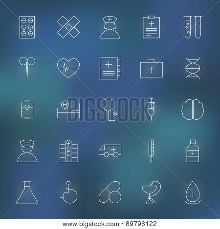 Medical And Health Care Line Icons Set Over Blurred Background