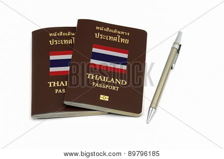 Thailand Passport And Pen For Travel Or A.e.c. Concept