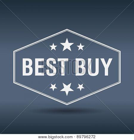 Best Buy Hexagonal White Vintage Retro Style Label