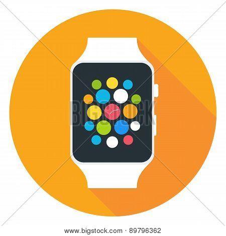 Smart Watch Flat Stylized Circle Icon