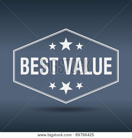 Best Value Hexagonal White Vintage Retro Style Label