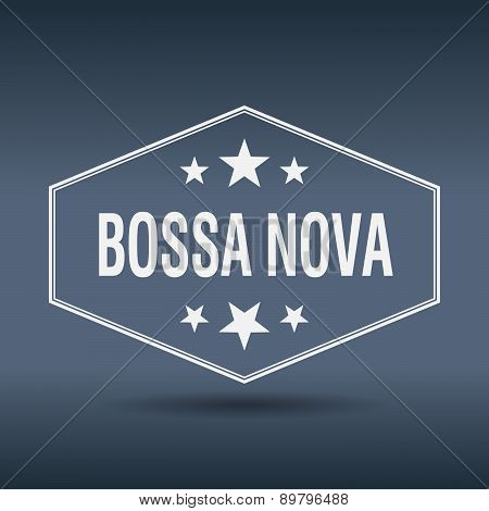 Bossa Nova Hexagonal White Vintage Retro Style Label