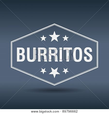 Burritos Hexagonal White Vintage Retro Style Label