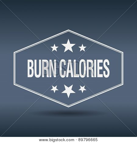 Burn Calories Hexagonal White Vintage Retro Style Label