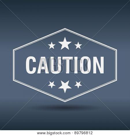 Caution Hexagonal White Vintage Retro Style Label