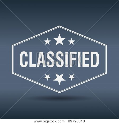 Classified Hexagonal White Vintage Retro Style Label