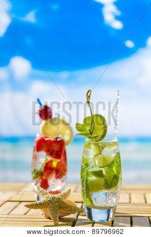 Fresh tropical cocktails on beautiful sunny beach
