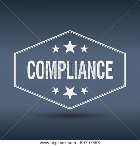 Compliance Hexagonal White Vintage Retro Style Label