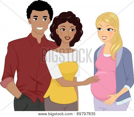 Illustration of a Couple Happy to see a Pregnant Girl