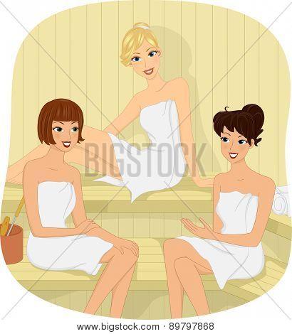 Illustration of Three Girls sitting in a Sauna