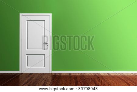 Interior Of A Green Room With White Door 3D Render