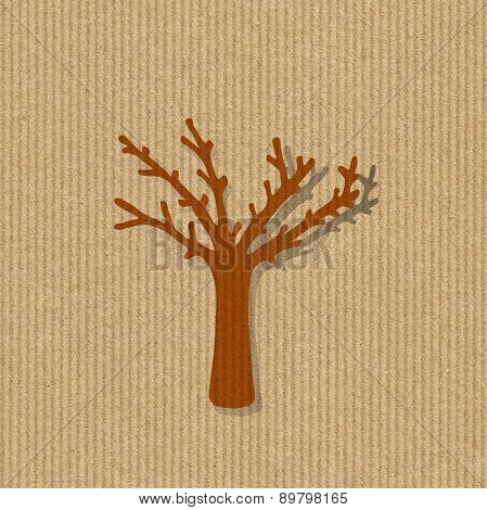Dry Tree Silhouette On A Kraft Paper Background Illustration