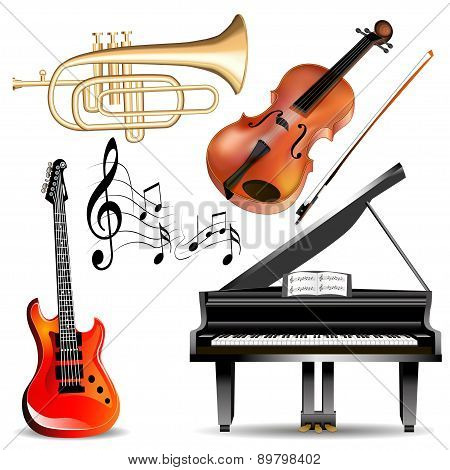 Set Of Musical Instruments Trumpet, Violin, Piano And Guitar With Notes