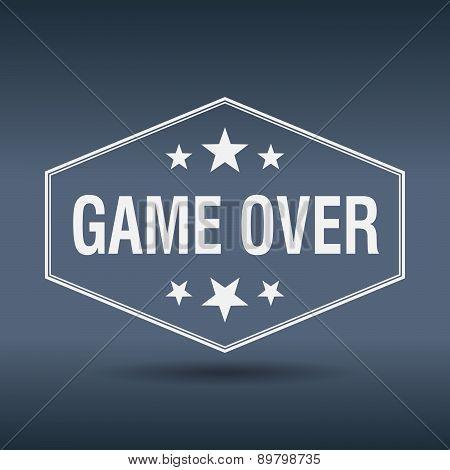 Game Over Hexagonal White Vintage Retro Style Label
