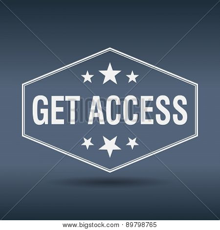 Get Access Hexagonal White Vintage Retro Style Label