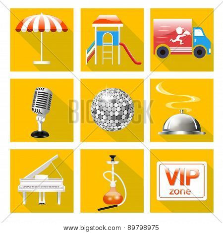 Set Of Icons For The Service Of The Restaurant Is A Grand Piano, Dance Floor, Karaoke,