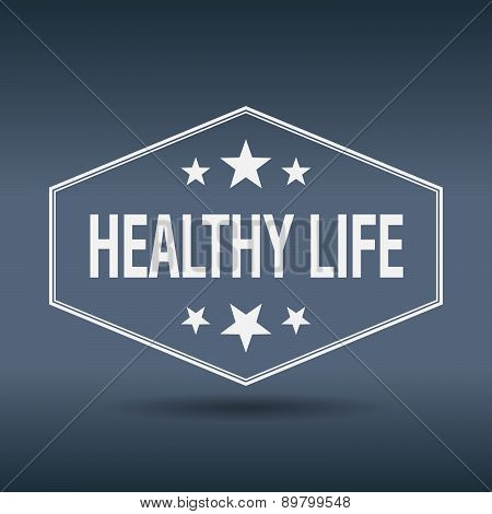 Healthy Life Hexagonal White Vintage Retro Style Label