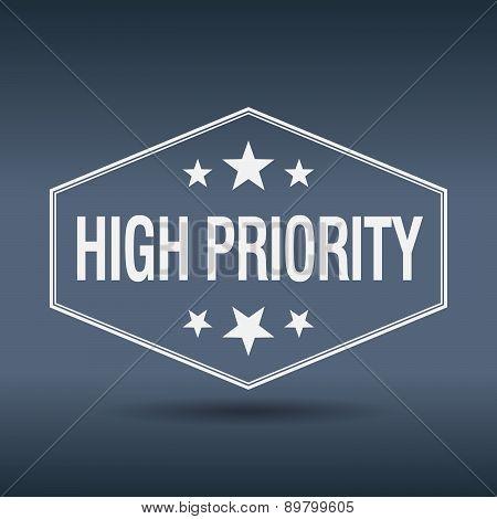 High Priority Hexagonal White Vintage Retro Style Label