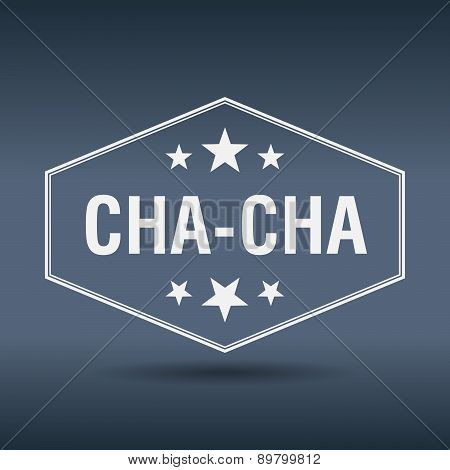 Cha-cha Hexagonal White Vintage Retro Style Label