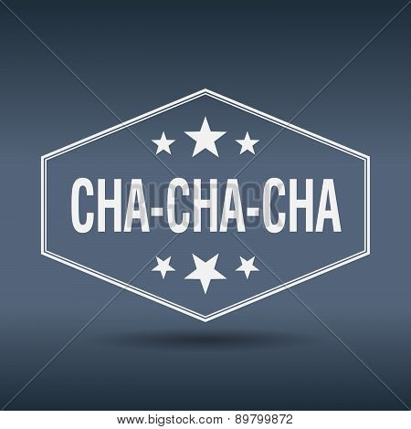 Cha-cha-cha Hexagonal White Vintage Retro Style Label