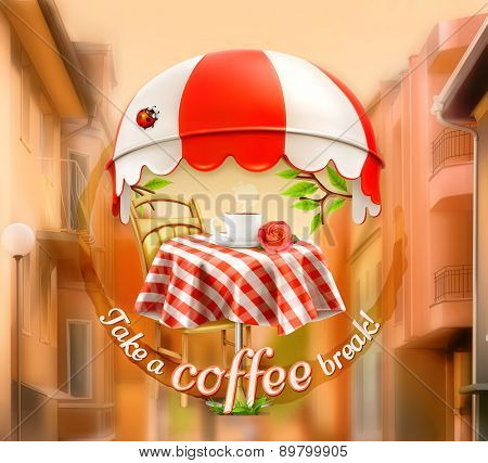 Cafe, coffee and pastry shop, a cup of coffee with rose on a table, awning with ladybug. Street background, invitation to a break, lunch time, vector advertising sign for cafe and coffee shops
