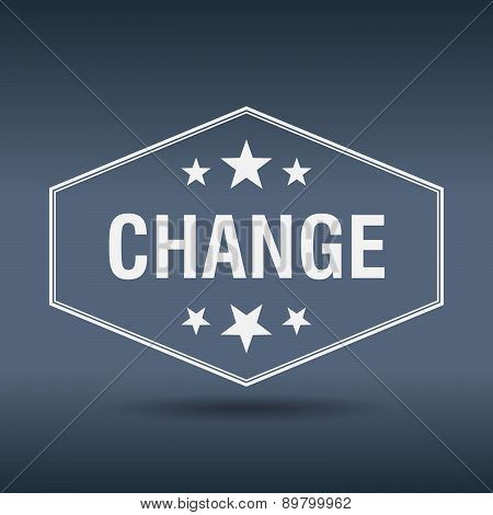 Change Hexagonal White Vintage Retro Style Label