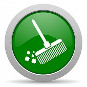 picture of broom  - broom green glossy web icon