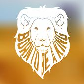 image of african lion  - Wild african lion head silhouette with text inside on blurred background - JPG