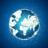 picture of earth structure  - Polygonal globe on blue background - JPG