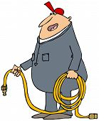 stock photo of coil  - This illustration depicts a worker in coveralls holding a coiled air hose - JPG