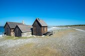 stock photo of faro  - Helgumannens fishing village on Faro island in the Baltic sea - JPG