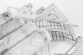 image of blueprints  - rolls of architecture blueprints  - JPG