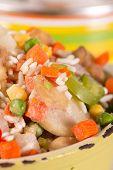 picture of saucepan  - Frozen vegetables in an old enamel saucepan before cooking - JPG