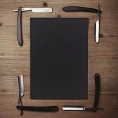 foto of barber razor  - Set of vintage barber shop tools with blank kraft paper - JPG