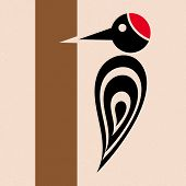 picture of pecker  - Vector stylized woodpecker icon with tree creative card - JPG