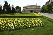 stock photo of serbia  - Park with flowers in front of Belgrade city hall in Serbia - JPG