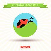stock photo of ladybug  - Ladybug Logo grass sky icon vector illustrations - JPG