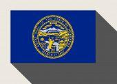 foto of nebraska  - American State of Nebraska flag in flat web design style - JPG