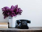 stock photo of rotary dial telephone  - Home interior decor - JPG