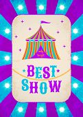 picture of tent  - Vector retro circus poster with multicolor tent - JPG