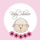 stock photo of baby sheep  - pink baby shower card with sheep - JPG