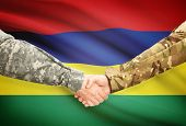 stock photo of mauritius  - Soldiers shaking hands with flag on background  - JPG