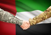 foto of emirates  - Soldiers shaking hands with flag on background  - JPG