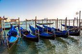stock photo of gondola  - Gondolas in a summer day in Venice Italy - JPG